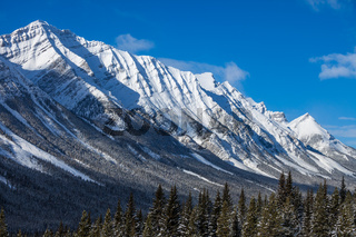 Snow covered mountains in Kananaskis, Alberta