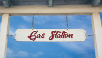 Street Sign to Gas Station