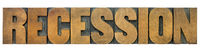 recession word in wood type