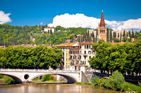 Verona bridge and Adige river view