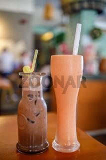 A Glass of Papaya Milk and Chocolate Drink