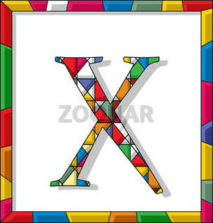 Letter X in stained glass