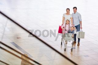 Familie und zwei Kinder im Einkaufswagen