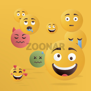 Vector illustration. Design of funny emoticons