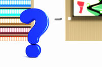 Question mark in the room, 3d illustration