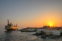 Cargo ship run aground
