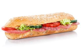 Baguette Brötchen Sandwich Vollkorn belegt mit Salami frisch freigestellt Freisteller