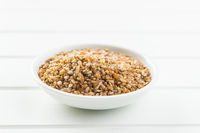 Dry bulgur wheat grains.