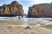 Man at Pfeiffer Beach, California