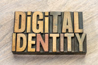digital identity word abstract in wood type