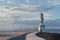 The lighthouse of La Savina in the port of Formentera Island at sunset. Balearic Islands. Spain
