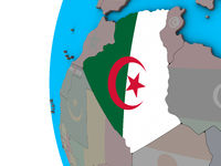 Algeria with flag on 3D globe