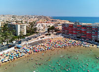 Aerial view of beach and Torrevieja cityscape