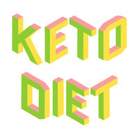 Ketogenic, Keto diet, colorful 3d letters isolated, logo