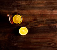 Cup of tea with lemon .Drink for cold.