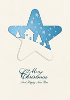 Merry Christmas winter card in star frame