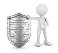 man and shield check mark