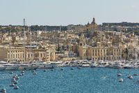 View of an old town and port area of Valletta in Malta