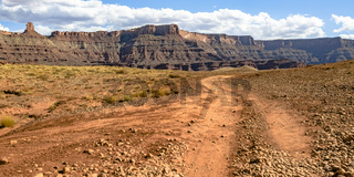 Trail leading to a grand canyon in Moab Utah