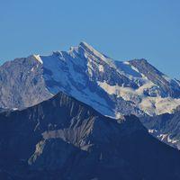Mount Doldenhorn. View from Mount Niederhorn. Mountain in the Bernese Oberland, Switzerland.