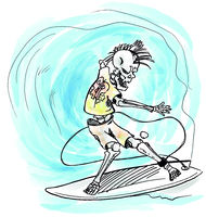 watercolor surfer skeleton hand drawn on wave