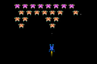 typical 80s pixel space arcade game