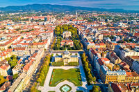 Zagreb historic city center aerial view