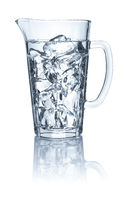 Pitcher with water and ice cubes on a white background