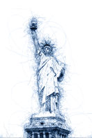 Statue of Liberty in New York ballpoint pen doodle