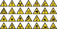 warning sign vector sign - Set of triangle yellow warning sign. Vector, illustration