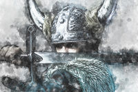 watercolor, Defense, Viking warrior, male dressed in Barbarian style with sword, bearded