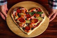 Heart shapes pizza