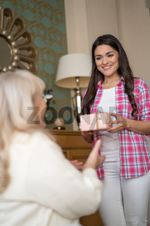 Smiling daughter is giving to her mother a lovely present