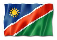 Namibian flag isolated on white