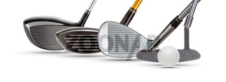 Golf Driver Woods, Iron Wedge, Putter and Ball on White Background
