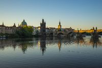 Prague city skyline with Charles Bridge in Czech Republic