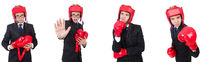 Young employee with boxing gloves isolated on white