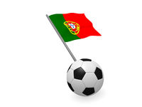 Soccer ball with the flag of Portugal