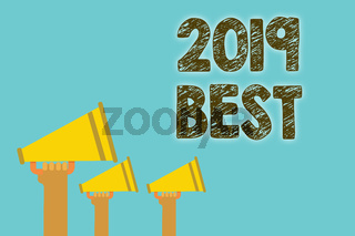 Handwriting text 2019 Best. Concept meaning Highest quality done in all fields preparing for the next year Megaphones loudspeakers loud screaming scream talk talking speech grunge.