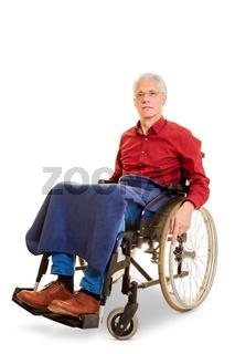 Alter Senior Mann sitzt im Rollstuhl