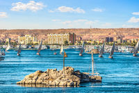 Row of sailboats in Aswan