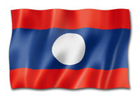 Laos flag isolated on white