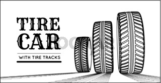 Car tire with tire marks on a white background. Hand-drawn design
