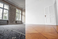 flat renovation, empty room before and after refurbishment or restoration  -