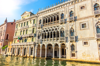 Ca' d'Oro Palace in Grand Canal of Venice, Italy