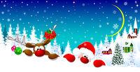Santa and deer on Christmas night 1