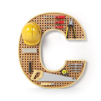 Letter C. Alphabet from the tools on the metal pegboard isolated on white.