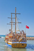 A Gulet Leaving Harbour,, Manavgat, Turkey