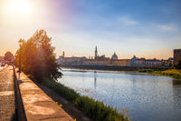 Arno river waterfront of Florence sunset view