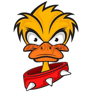 Cartoon evil face duck with collar.